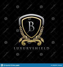 Luxury B B Lake District Grand Designs Gold Luxury Shield B Letter Logo Stock Illustration