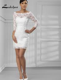Elegant Scoop 3 4 Sleeve Lace Short Reception Dresses Two Piece