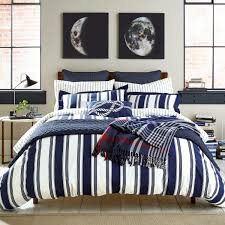 navy and white striped bedding white bed
