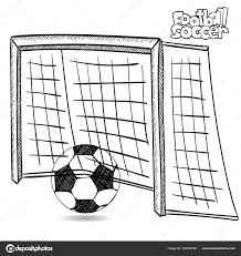 Drawing Of Soccer Goal And Soccer Ball On White Background Stock