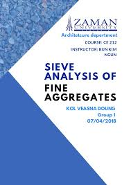Sieve Analysis Of Fine Aggregates Student Experiment
