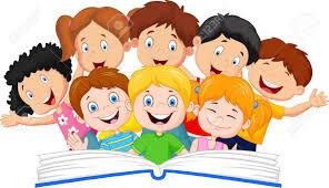 cartoon little kid reading book funny stock vector 45091843