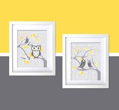 Owl Bedroom Decor Kids Gray Yellow Kids Wall Decor Nursery Art Modern Room Whimsical Owl