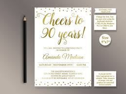 90 Birthday Party Invitations Editable 90th Birthday Party Invitation Template Cheers To 90 Years 90th Anniversary Invitation Gold Birthday Invite Digital Printable Pdf
