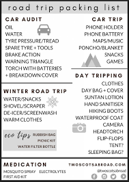 International Travel Packing Checklist 29 Essential Road Trip Packing List Items