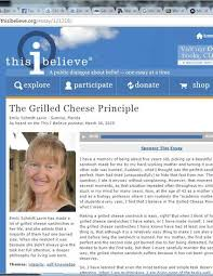 the grilled cheese principle personal belief essay as part of a  personal belief essay as part of a public dialog about belief by emily f schmitt lavin