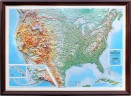 Elevation Chart Us Raised Relief Map Of The United States