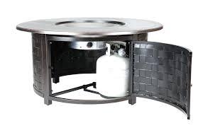fire sense round propane pit 30 patio table woven cast aluminum