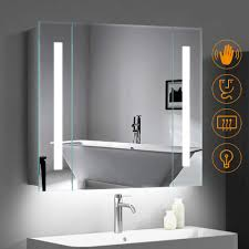 quavikey 650 x 600mm led illuminated bathroom mirror cabinet aluminum bathroom mirror with shaver socket demister straight lights for makeup cosmetic shaver