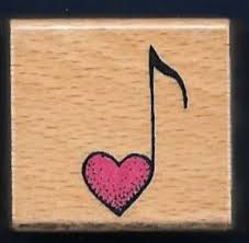 music note stamp music note heart all night media band card small wood mount rubber