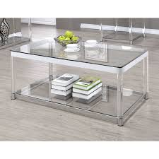 Coaster 720748 Coffee Table in Chrome/Clear Acrylic