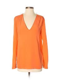 Comptoir Des Cotonniers Size Chart Details About Comptoir Des Cotonniers Women Orange Long Sleeve Blouse 36 French