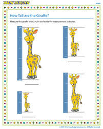 How Tall are the Giraffe | Kindergarten Measurement Worksheets ...Free kindergarten measurement worksheet