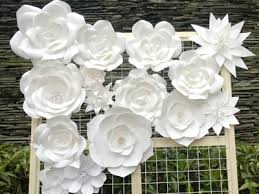 White Paper Flower Wall Wedding Decor Cherry Blossom Artificial Flower