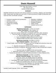 Warehouse Worker Resume Fascinating Resume Templates For Warehouse Worker Pohlazeniduse