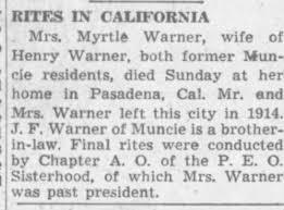 Obituary for Myrtle Warner - Newspapers.com