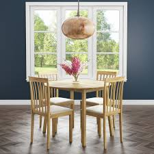 New Haven Round Drop Leaf Dining Table With 4 Cream Fabric Dining