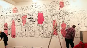 office wall paintings. Contemporary Wall Pink Building Art For The Office Wall Perfect Ideaas Decoration Process  Painting Line Pattern Drawing Incredible To Office Wall Paintings N