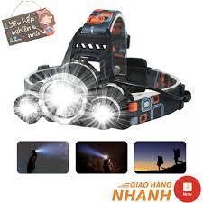 Đèn Pin Đội Đầu 3 Bóng ☘ YÊU BẾP ☘ Đèn Pin Led T6 Siêu Sáng Kèm 2 Pin Sạc - Đèn  pin