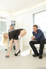 Blonde Maid Blanche Bradburry with Trimmed Pussy Wearing Platform.