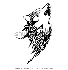 tribal wolf howling silhouette. Silhouette Wolf Howl Head Aztec Tribal Tattoo Design For Arm Or Leg Vector With White Background And Howling