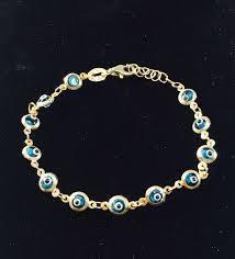 Designer Evil Eye Bracelet 10k Gold Turkish Baby Blue Evil Eye Beaded Designer Bracelet