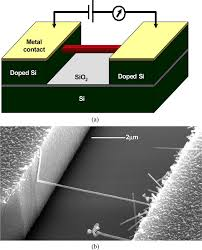 a schematic diagram of a bridged nanowire structure b sem image a schematic diagram of a bridged nanowire structure b sem image of a bridged si nanowire a length of 6 μm the contact resistance of such bridged