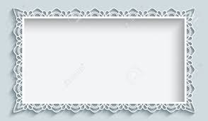 Rectangle Frame With Paper Lace Border Ornament Greeting Card
