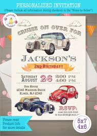 Car Birthday Invitations Vintage Cars Birthday Invitation Personalized Digital Only