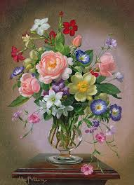 still life painting roses peonies and freesias in a glass vase by albert williams
