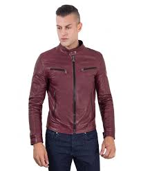 hamilton red purple vintage effect lamb leather jacket four pockets korean collar