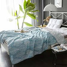 summer blanket for bed. Simple Bed MEJU Leaves Blue Muslin Lightweight Summer Blanket For Bed Sofa Couch 100  Combed Cotton And For L