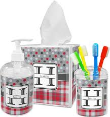 Black Bathroom Accessories Set Red And Gray Bathroom Accessories Red Gray Dots And Plaid