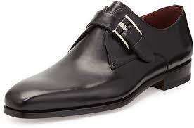 magnanni leather single monk strap shoe black