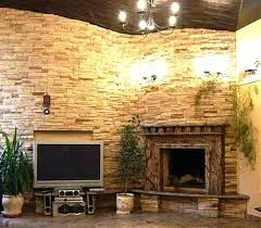 diy stacked stone fireplace surround installation build outdoor veneer
