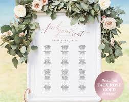 Faux Rose Gold Wedding Seating Chart Seating Chart Wedding Seating Chart Template Seating Chart Sign Wedding Sign Bpb334_52