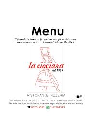 Menu - La Ciociara dal 1969 - Ristorante, Pizzeria in Rome - TheFork