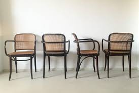 this set of four beautiful chairs is designed by josef hoffman and produced in czechoslovakia