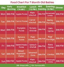 food chart for 7 months baby with