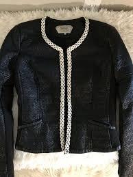 medium zara trafaluc faux leather silver beaded ivory trim black womens jacket