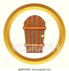old arched wooden door vector icon cartoon style