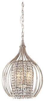 misaka compact 3 light pendant chandelier satin nickel and crystal