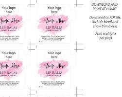 lip balm label templates free editable