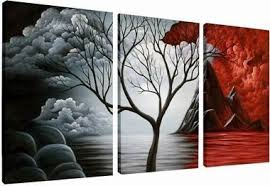 wieco art the cloud tree 100 hand painted modern canvas wall art wood framed on the back wall decor floral oil paintings on canvas 3pcs set low cost uk  on hand painted canvas wall art uk with wieco art the cloud tree 100 hand painted modern canvas wall art