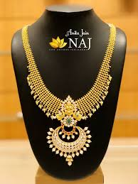 Broad Chain Designs Nakshi Collection Broad Mesh Chain Haram With Centre