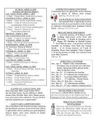 SUNDAY, APRIL 8, 2018 SUNDAY OF DIVINE MERCY SAT. VIGIL MASS, APRIL 7, 2018  4:30pm +Edward Kloc–Aniela Kloc & family EAST