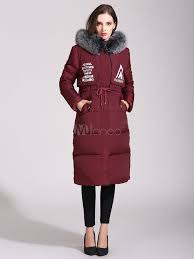 burdy quilted jacket faux fur hooded long sleeve letters printed drawstring padded coat for women