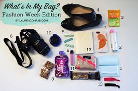 what s in my bag fashion week edition