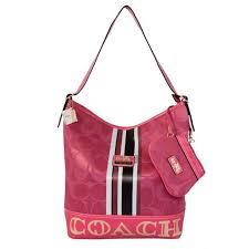Coach In Signature Medium Fuchsia Shoulder Bags AYI DOP304 Shoulder Bags