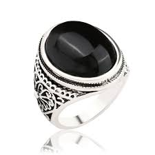 Silver Stone Ring Designs Us 2 0 Silver Antique Rings Big Oval Black Red Stone Ring Designs Carved Black Onyx Jewelry Aneis Vintage For Women Men In Engagement Rings From